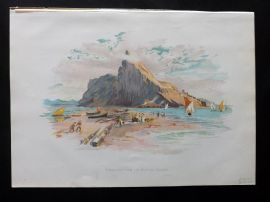 Cassell 1902 Antique Print. Gibraltar from Neutral Ground